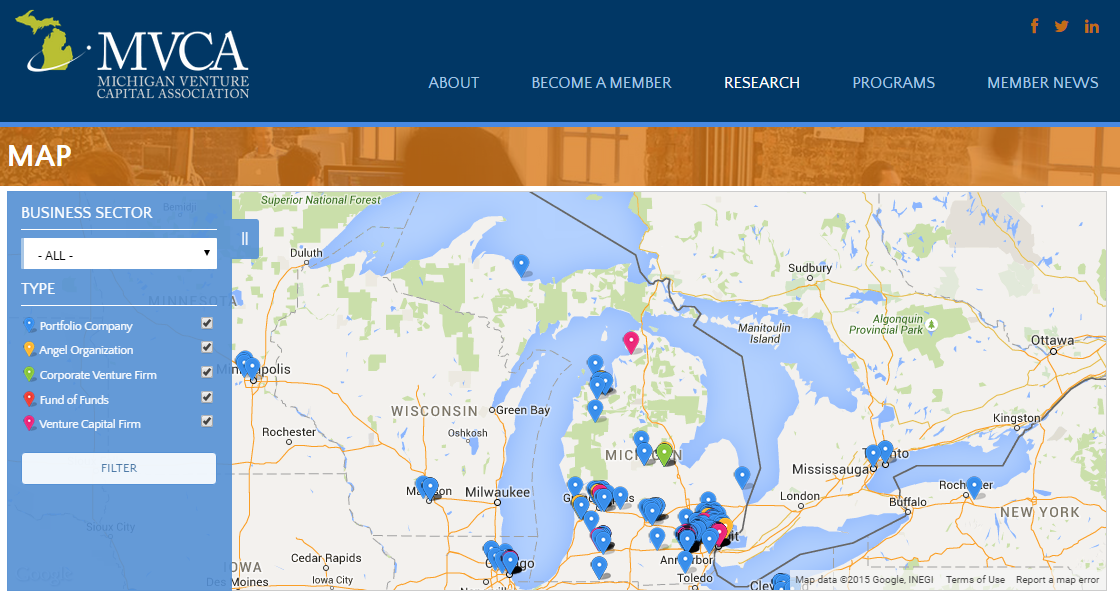 Michigan Entrepreneurial Investment Landscape Map Michigan
